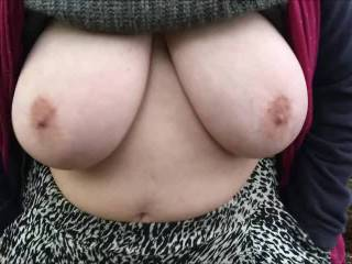 From yesterday here are two videos joined - my friend bounces her big tits in woodland