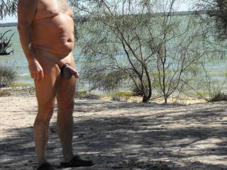 enjoying the scenery at Lake Bonney and showing off my partial erection to the couple nearby - they both certainly enjoyed looking at my cock