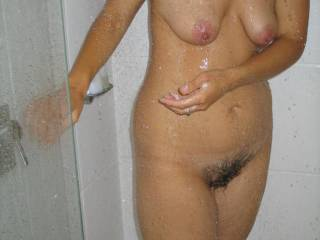 Beautiful droop and sag on her tits.  Love her hairy cunt too!
