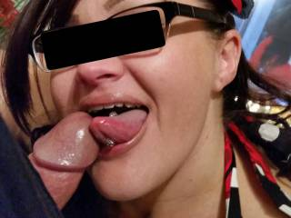 Look at the smile on Vixxxens face!! You know when a girl is enjoying sucking a dick that much, she\'s probably good at it! And trust me, Vixxxen can suck a hell of a dick and she\'s amazing at tongue bathing and Sucking balls!! Her tongue is priceless. -Dd