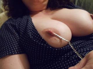 Oh yes just love those nipple clamps .. I will pull your cahins while you ride my hard cock .....Greg xxx