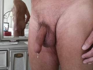 I love to show off my cock, dripping with precum, thinking about the people who will see it and maybe want to ........