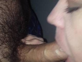 Finally got to suck on an uncut cock! We met this guy at a porn arcade and I put some work in on his yummy cock. It was so hot to have him come in our booth and just stand in front of me, waiting for me to pleasure his cock. My man stood by jerking off...