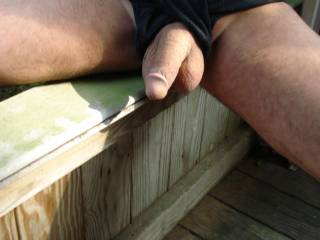 Out side smooth cock n balls outside