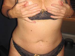 My nipples are feeling so hard just waiting for your cum all over my tits. Don't worry about messing my underwear, hubby will lick it all clean.