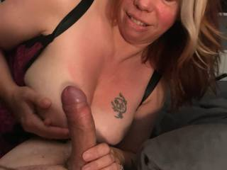 Mrs P loves to pump a nice hard cock, especially to get it ready for sucking. Here shes rubbing it on her beautiful tits before sinking it into her throat