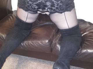 kay bending over for cum load over her sexy nylon ass