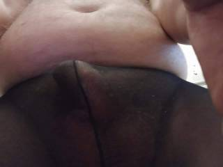 My dick is covered,in a nylon pantyhose.It make me very horny,do you like pantyhose?