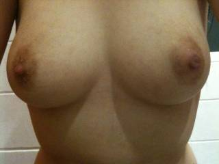 Mmm, love your tits, they're absolutely perfect. Firm, the perfect size and a delicious nipple on top ;)