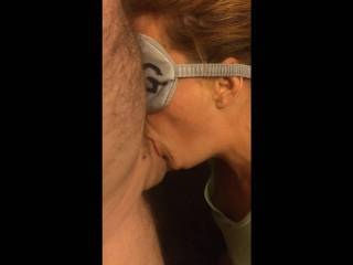 My personal little deep throating wife does a good job taking it all don\'t she? if you watch close you can even see the lipstick at the base after she comes up for air!