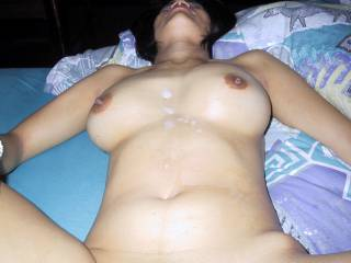 Nut in Bangkok, another one of my archives... great load on her body and boobs....