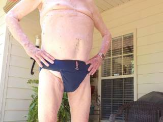 Wearing my new jock strap on the back porch
