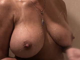 My wife and her big beautiful tits in the shower last night.