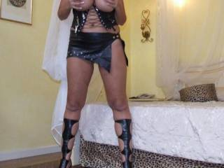 love the outfit ,sexy heels , lets have some more please