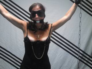 Nipple clamps on before removing the ball gag and giving her a hard face fuck...