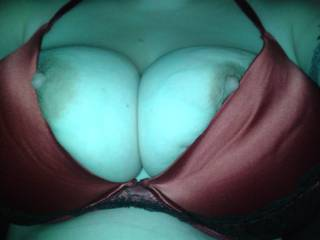 Peeking out of my new bra. All natural!