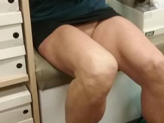 Out shoe shopping, short skirt no panties, very happy sales guy
