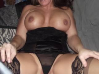 big nice pierced tits and black teddy