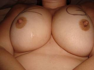 Everything perfect! Your nipples sitting so high. Such soft perfect tits. You taking the time and fun to have zg on your chest KNOWING a bunch of BIG cocks are out there throbbing for ya. W should be friends! Ha