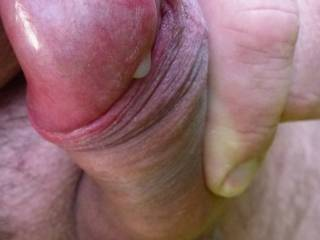 playing my hard cock outdoors - pre-cum leaking