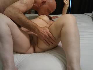 Nothing like some tit and pussy! I am working my way down this lovely woman of mine. Please see our video that shows what happens next. The audio is great!