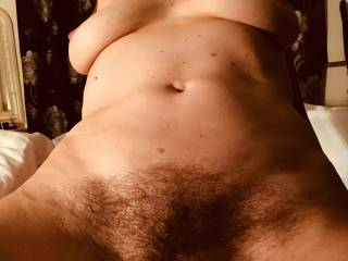 Mature friend riding my cock and giving me a great view of her hairy cunt and gorgeous tits