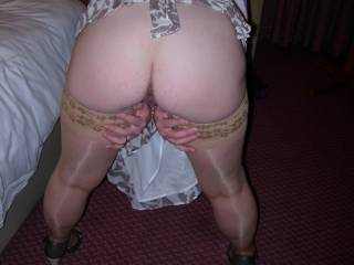 I love it. Sexy bum and natural stockings. Wish I was your camera man.