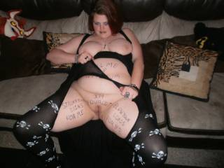 my slutty girlfriend dressing up to hide the filthy things ive written on her.