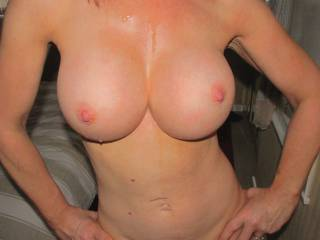 Jizz dripping all down my Tits and body..