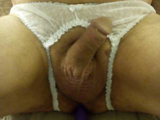 I love wearing my new white crotchless panties
