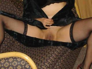 Showing hubby how smooth my pussy is before we head out...now, have I forgotten anything?