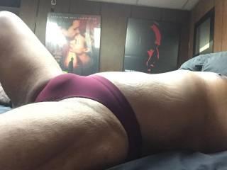 Burgundy bikini bulge