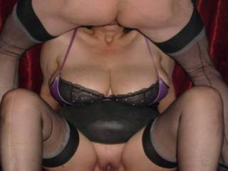 Mmmmmm....very hot! Love to be licking your pussy while you suck his cock!
