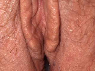 Wife\'s freshly fucked pussy. My load of cum is deep inside.