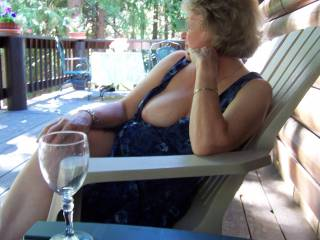 Outdoor venue near the lake.  I am pretending I don\'t know my boob slipped out!