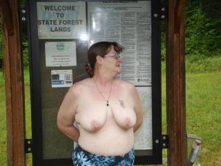 My wife showing me her tits at a parking area in the game lands not far from home