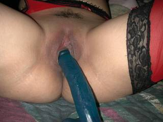 One of her favorite toys. I like to slide my cock in along with of it. What would you do?