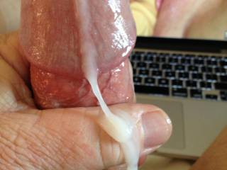 Mmmmm, I'm glad that you shot a picture of your delicious cum pouring out of your cock...that's the kind of picture that gets me wet.  Wish I was there licking and sucking up all of your cum.  You has a delicious cock too.  MILF K