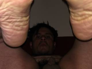 Love showing my smelly feet soles small soft cock and spread hole any of you girls like this position you can do to me anything you want!