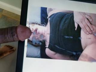 Cum tribute for MyWifeForYouCum. Covered her pretty face as she took that toy in her ass.