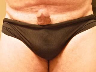 peeking out for some fun while wearing her panties.