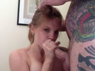 hmmm looking soo sexy sucking that cock, being a good slut letting him cum all over you! of course you did very very good, but i think there is a lot of room left for my hot load!