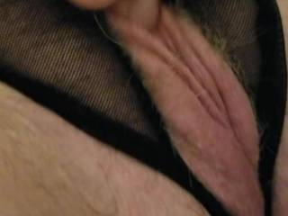 Little playtime with him fingering and rubbing my pussy with my panties on .....