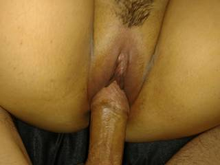 Fuck friend taking my cock in her tight little box.