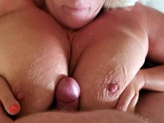 I love getting up so horny and hard and dry humpin my Baby's gorgeous boobs until I spurt hot cum all over!