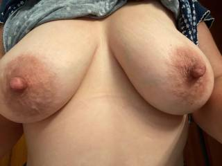 Please tribute all over this pic and send it to me!  I think it's so hot seeing a huge hard cock and cum all over my tits!  It makes me so wet seeing how turned on it makes you.