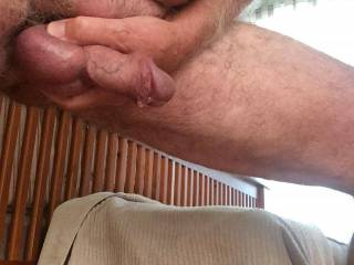 Anyone want to get down on their knees so I can feed my cock and balls to you