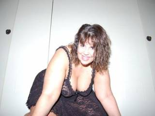 Married fuck buddy, web model, showing me her new black teddy for our upcoming weekend.  She\'s the one I fucked in the ass in the posted pics