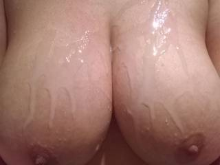 this could be your cum dripping down my tits!