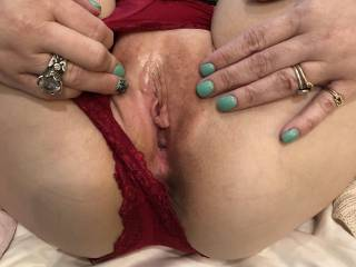 Hubby loved the hookup I was about to get from my friend.  These are my lover's favorite panties.  When hubby got home, he fucked me with my panties on and me spread wide.  It felt so good.  He came so much fucking me with the panties on!
